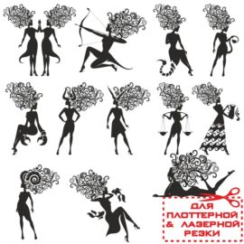 Знаки зодиака в виде силуэтов женщин