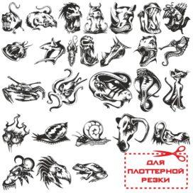 Сердитые животные — эскизы татуировок