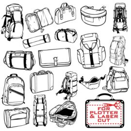 Collection of hiking backpacks and bags for plotter cutting