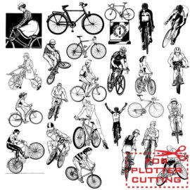 Vector bicycles and bicyclists for plotter cutting