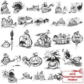 Черно белые векторные иллюстрации для Хэллоуина