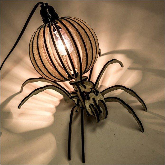 Настольная лампа паук макет для лазерной резки фанеры