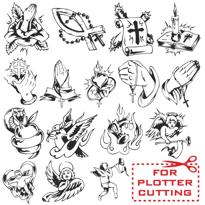 religious tattoos vector layouts