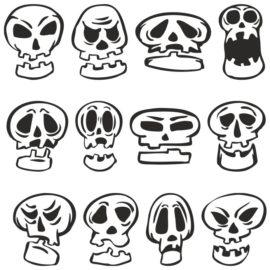 Прикольные мультяшные черепа для плоттерной резки