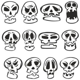 Funny cartoon skulls for plotter cutting