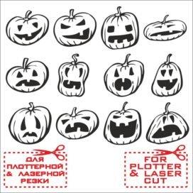 Прикольные векторные эскизы тыкв для Хэллоуина