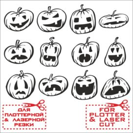 Funny Vector Pumpkin Sketches for Halloween