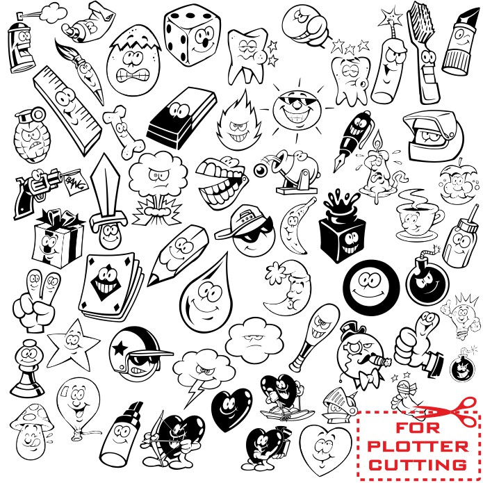 Cute objects with eyes vector clipart