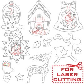 Vector patterns for laser cutting of Christmas toys from plywood