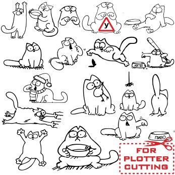 Cat Simon vector images for cutting vinyl stickers