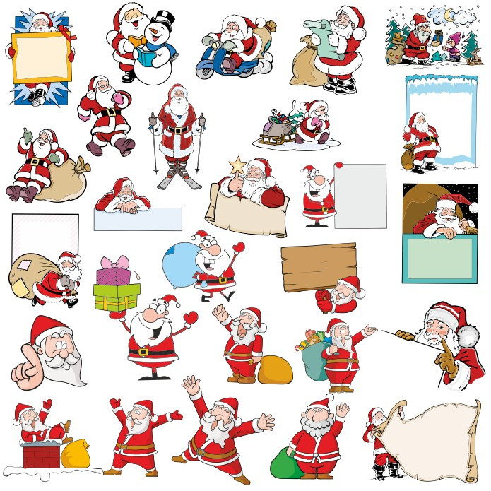 santa claus pictures in vector large collection