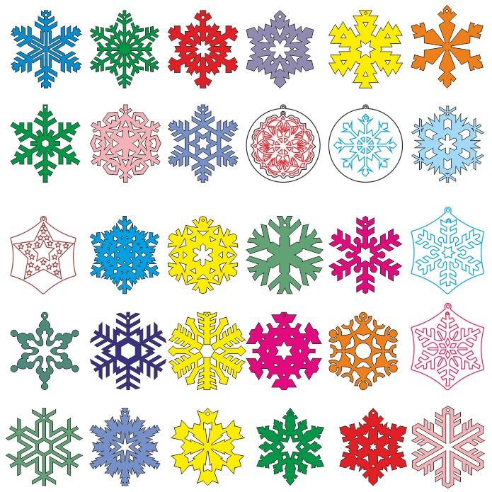 Векторные шаблоны снежинок скачать для вырезания на лазере или плоттер