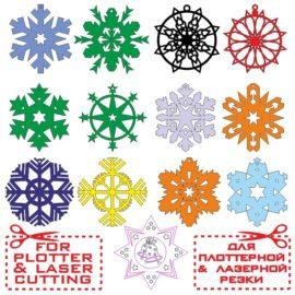 Макеты различных снежинок для изготовления елочных игрушек