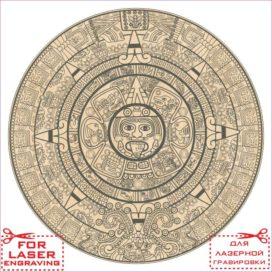 Календарь Майя векторный эскиз для лазерной гравировки