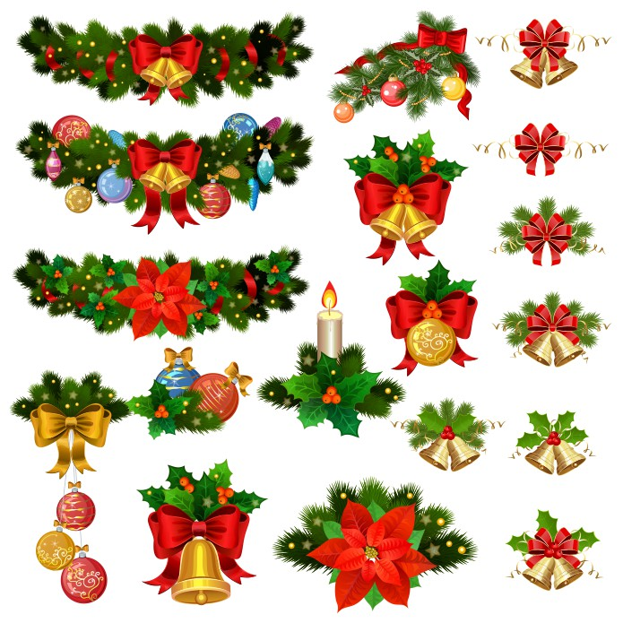 рождественские гирлянды, колокольчики, ленточки и другие предметы новогоднего декора