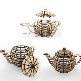 Чайный домик — 3D чайник: Векторный макет для лазерной резки