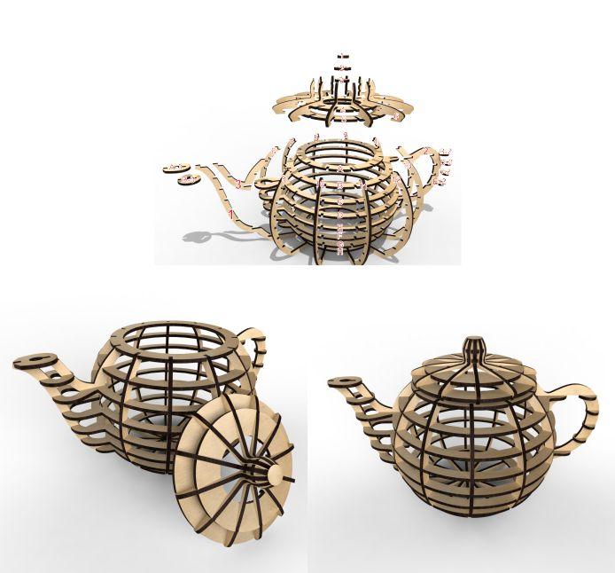 Чайник из фанеры векторный макет для лазерной резки