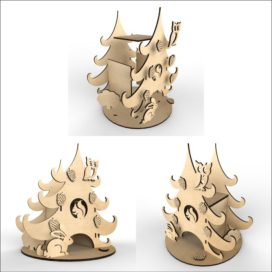 Tea house – Christmas tree: Vector model for laser cutting
