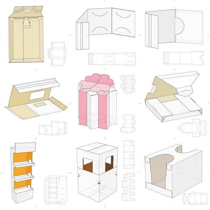 Коробочки из бумаги шаблоны в cdr, dxf, eps скачать бесплатно