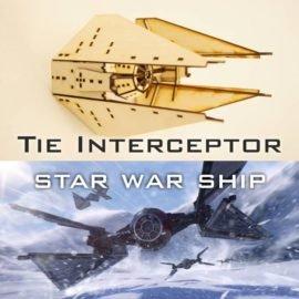 Сборная модель корабля Tie Interceptor из «Звездных войн».