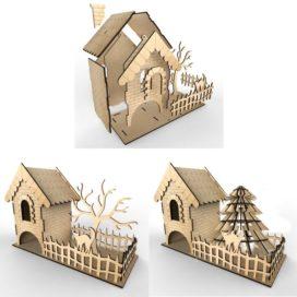 Чайный домик с полесадником: Векторный макет для лазерной резки фанеры