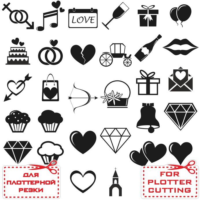 иконки cdr любовне, свадебные