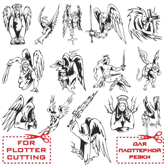 Векторные ангелы, шаблоны для плоттерной резки скачать бесплатно