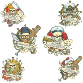 Pirate skulls, collection of prints for T-shirts
