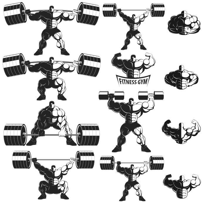 Бодибилдеры в векторе заготовки для лого