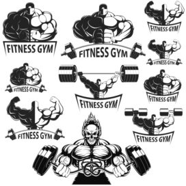 Collection of vector bodybuilders. Part 2