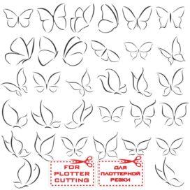 Контур бабочки: векторный клипарт для плоттерной резки