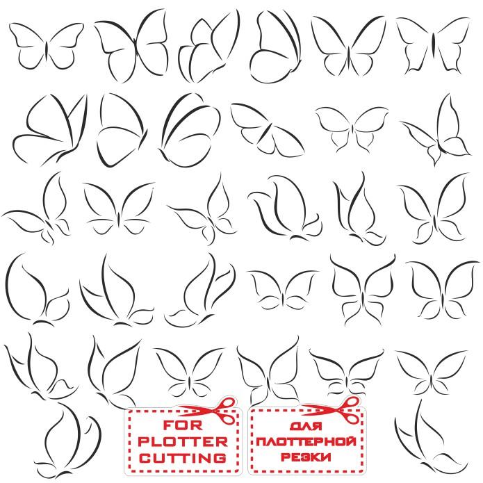 Контур бабочки большой сборник векторных иллюстраций