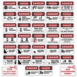 Stickers, labels: Danger!