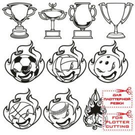 Небольшой сборник спортивного клипарта: наклейки мячи cdr, dxf, pdf