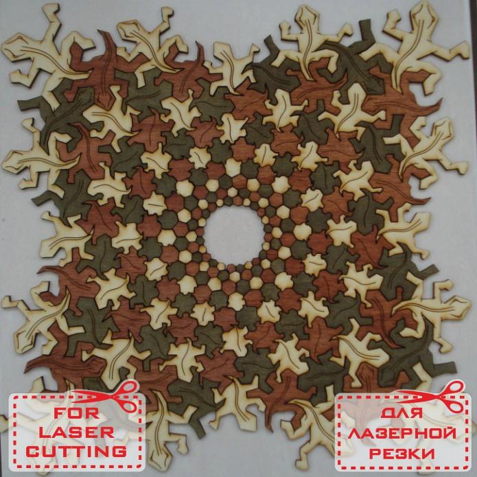 Ящерица мозаика из фанеры