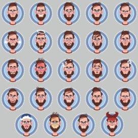 Мужские смайлики: векторный сборник