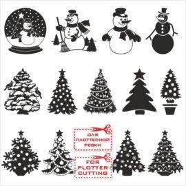 Новогодняя елка чб векторные картинки