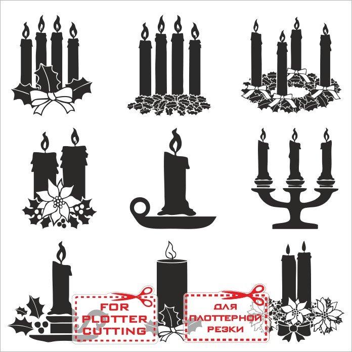 Силуэты свечей, новогодний чб клипарт для ЧПУ